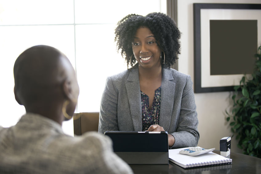 Female Businesswoman meeting with client